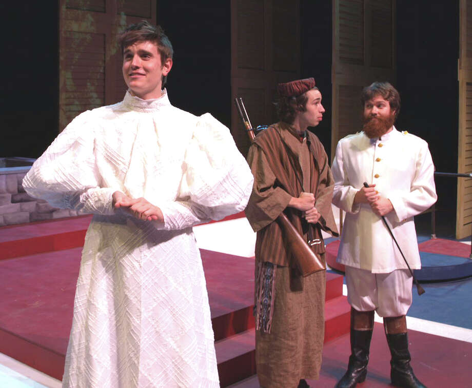 "The cast of Trinity University's ""Cloud 9"" includes, from left, Seth Larson, Nico Bonacci, and Sam Weiner. Courtesy Trinity Theatre"