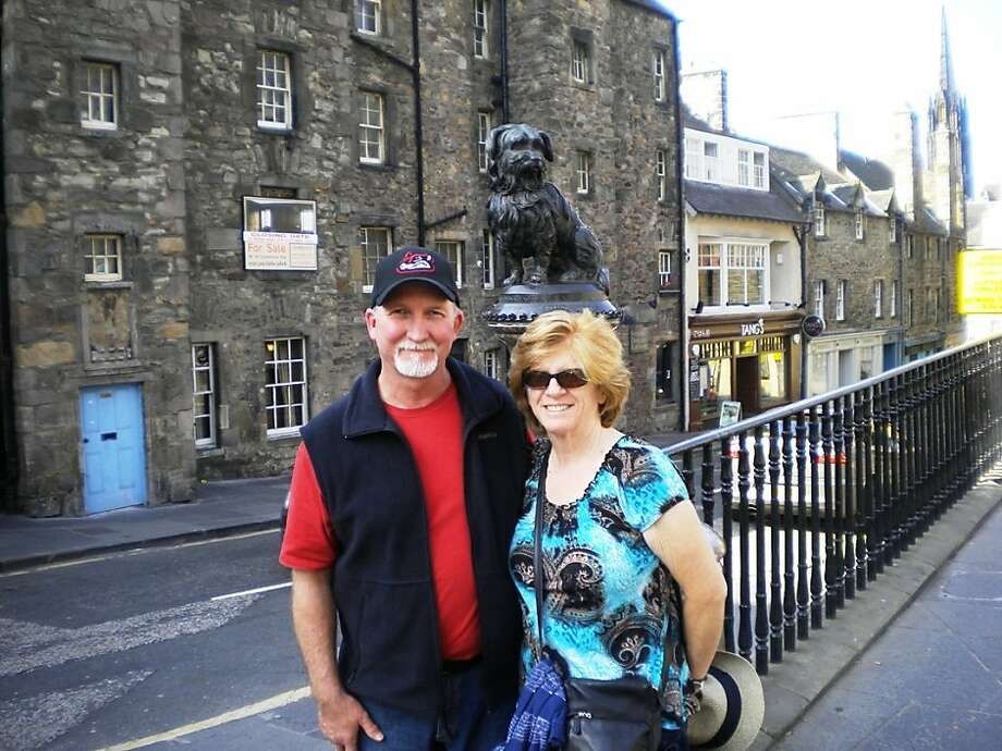 Tim and Audrey West of Montara at Greyfriars Kirkyard in Edinburgh, Scotland. Photo: Courtesy Tim And Audrey West