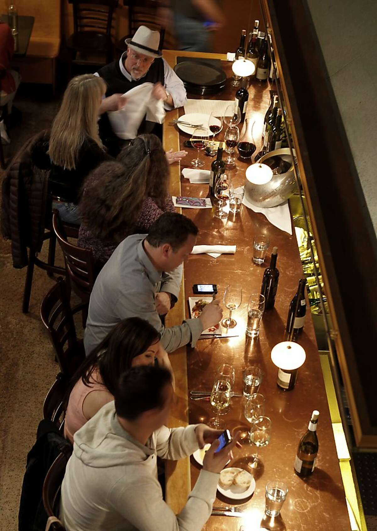 At Soif in downtown Santa Cruz, a wine bar is right next to the dining area. Restaurants in the Santa Cruz area selected include Le Cigare Volant, La Posta, Soif, Au Midi and Gayle's Bakery.