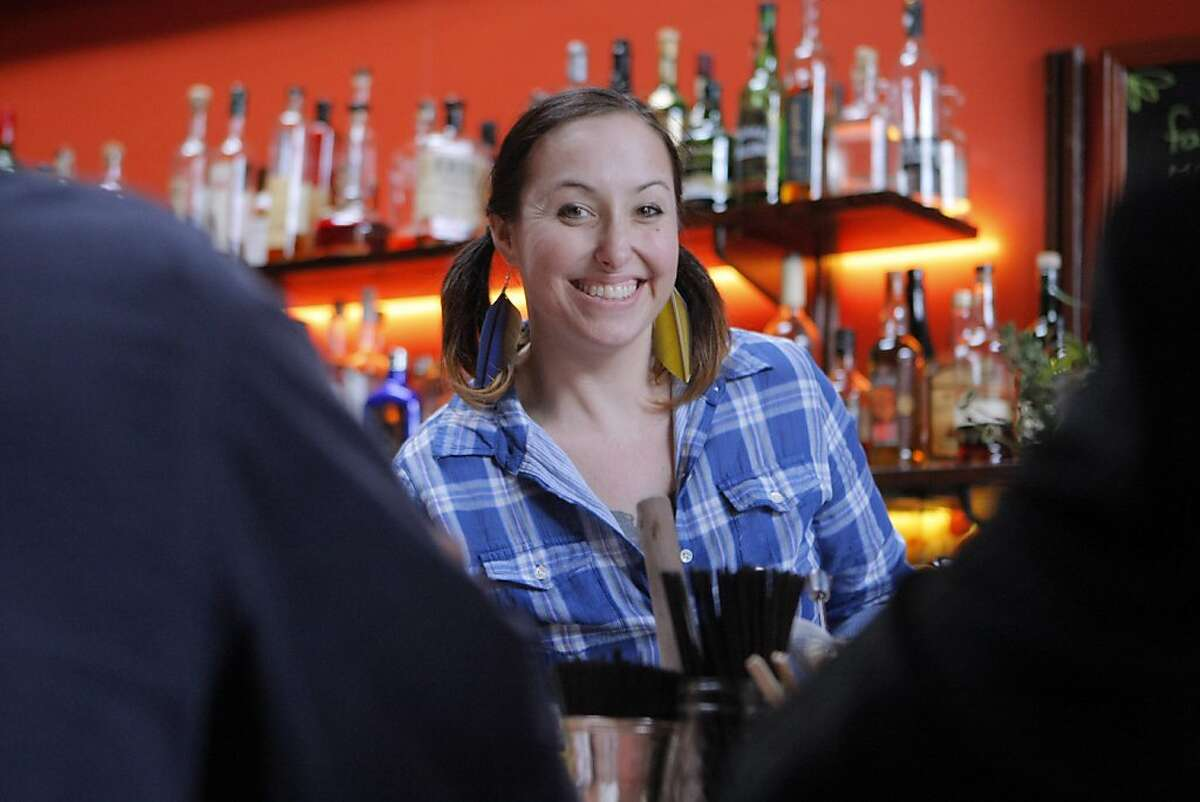 Summer-Jane Bell, bar manager at The New Easy bar in Oakland, Calif., poses for a photo on March 31, 2012.