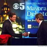 DEBATE03_002_CAG.JPG Supervisors Matt Gonzalez, right, and Gavin Newsom, left, greet each other before the final mayoral debate at KPIX studios on Tuesday, December 2, 2003, just one week before the runoff election on Dec. 9th. Event on 12/02/03 in San Francisco, CA. Photo By CARLOS AVILA GONZALEZ / The San Francisco Chronicle Matt Gonzalez Matt Gonzalez Matt Gonzalez CAT MANDATORY CREDIT FOR PHOTOG AND SF CHRONICLE/NO SALES-MAGS OUT