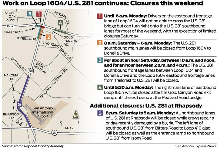 Road Closures Abound Over Weekend San Antonio Express News