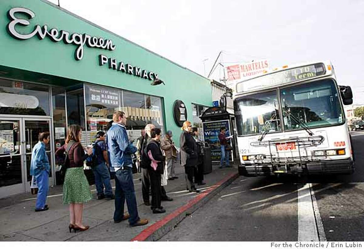 Passengers prepare to board the 38 Geary bus at the corners of Geary Blvd. and 20th Avenue Thursday morning, October 18, 2007. Event on 10/18/07 in San Francisco. Erin Lubin / For the Chronicle
