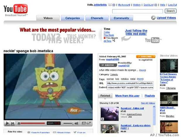 In this still image of a computer screen showing the YouTube website, an image of the Nickelodeon character SpongeBob SquarePants is seen, March 13, 2007. Nickelodeon owner Viacom Inc. sued the popular video-sharing site YouTube and its corporate parent, Google Inc., on Tuesday, March 13, 2007 seeking more than $1 billion in damages on claims of widespread copyright infringement. (AP Photo)