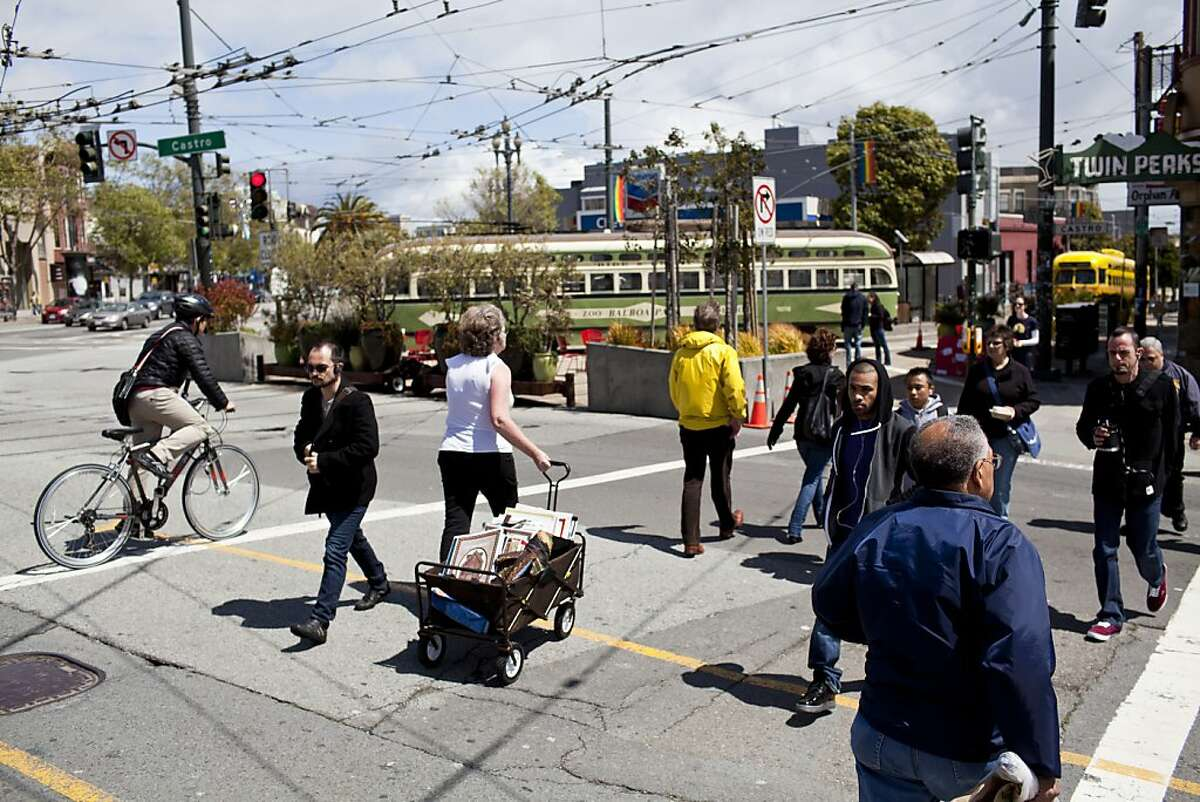 The crosswalk at the intersection of Castro and Market Streets where an elderly man was stuck and killed by a bicyclist on March 29 in San Francisco, Calif., Friday, April 13, 2012. Jason Henry/Special to The Chronicle