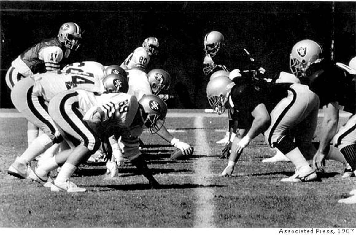 Sept. 28, 1987 - Non-union 49ers and Raiders line up in a scrimmage in El Segundo on Sept. 28, 1987. Bob Gagliano is no. 11 for the 49ers.