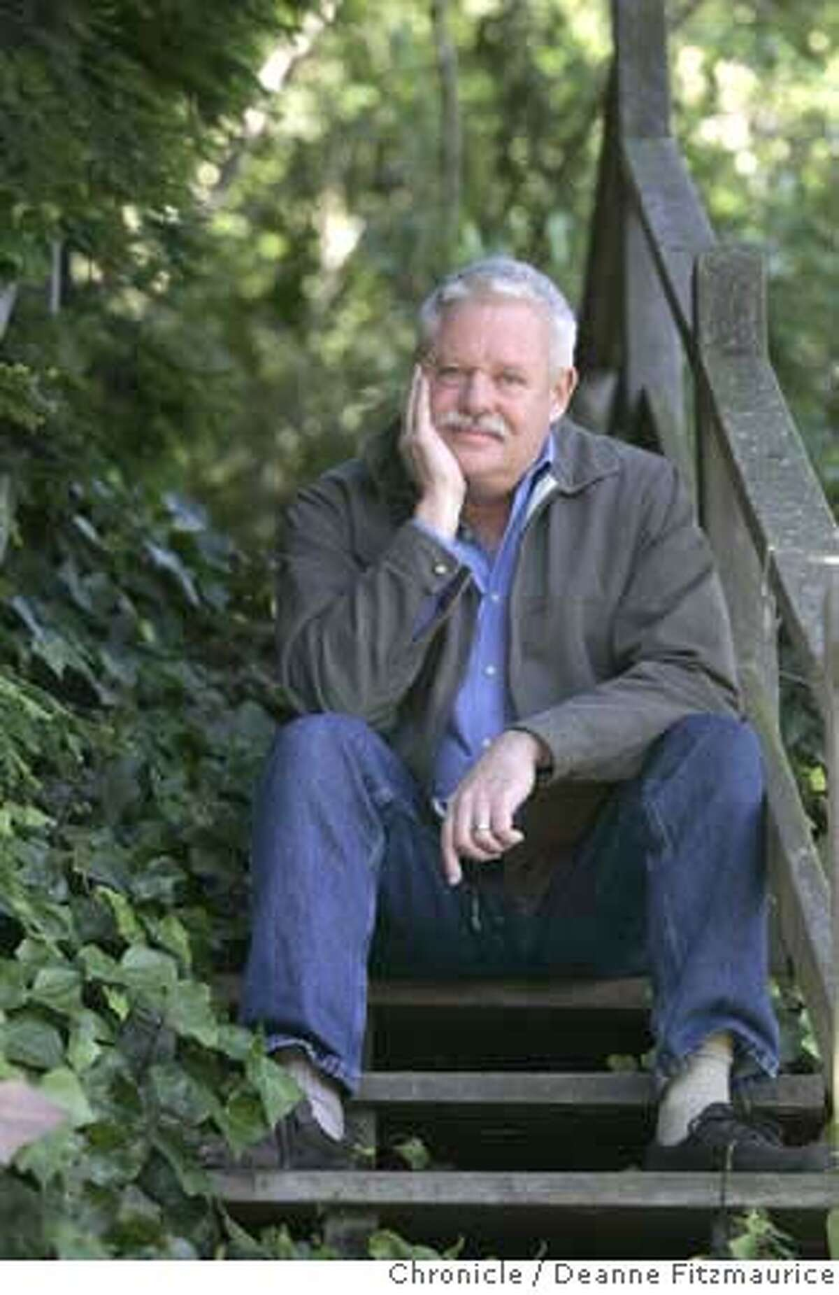 maupin12_0049_df.jpg Author Armistead Maupin is photographed on Macondray Lane, the location made famous by his series, Tales of the City. His final book of the series is now being published. Deanne Fitzmaurice / The Chronicle Ran on: 06-11-2007 Armistead Maupin on Russian Hills Macondray Lane, the Barbary Lane of Tales of the City. Mandatory credit for photographer and San Francisco Chronicle. No Sales/Magazines out.