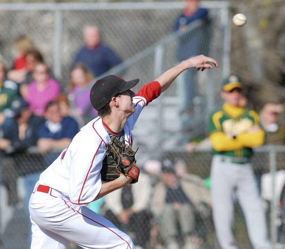 Greenwich pitcher Ryan Marks throws during high school baseball game between Greenwich High School and Trinity Catholic High School at Greenwich, Friday afternoon, April 13, 2012. Photo: Bob Luckey / Greenwich Time