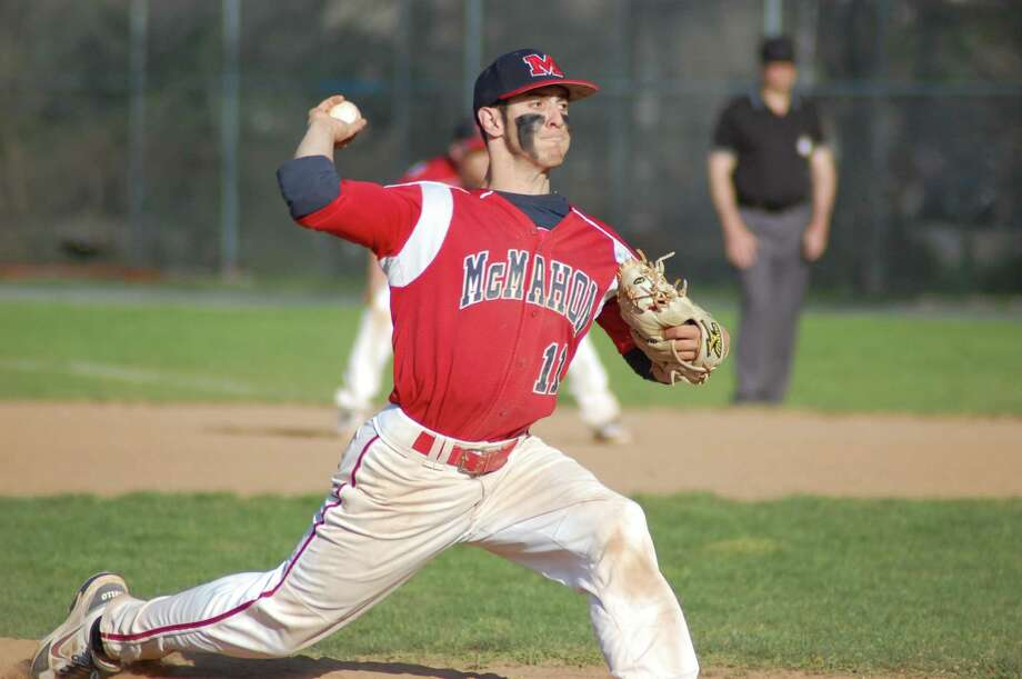 Brien McMahon right-hander Bryan Daniello pitches in the Senators' 12-3 win over Norwalk on Friday at City Hall Field. Photo: Doug Bonjour