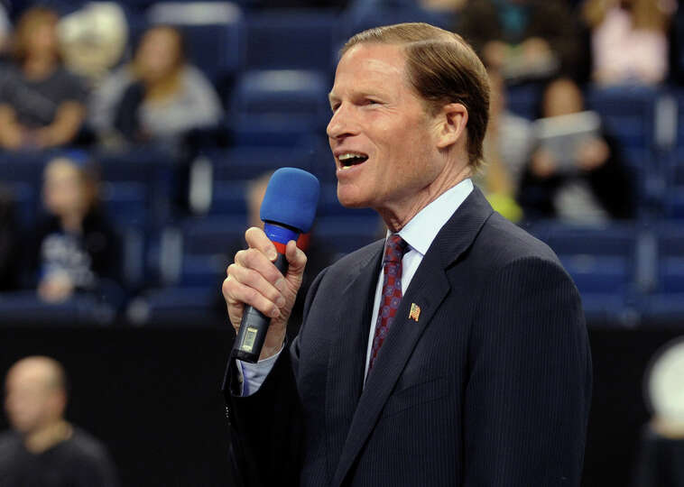 US Senator Richard Blumenthal attends the opening ceremony of the USA Gymnastics Collegiate National