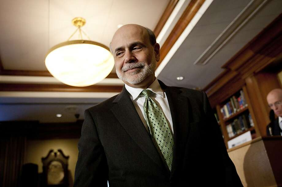 Ben S. Bernanke, chairman of the U.S. Federal Reserve, exits after speaking at the Princeton Club in New York, U.S., on Friday, April 13, 2012. Bernanke said the central bank must increase its focus on maintaining financial stability in order to prevent a repeat of the crisis that triggered the worst recession since the 1930s. Photographer: Scott Eells/Bloomberg *** Local Caption *** Ben S. Bernanke Photo: Scott Eells, Bloomberg