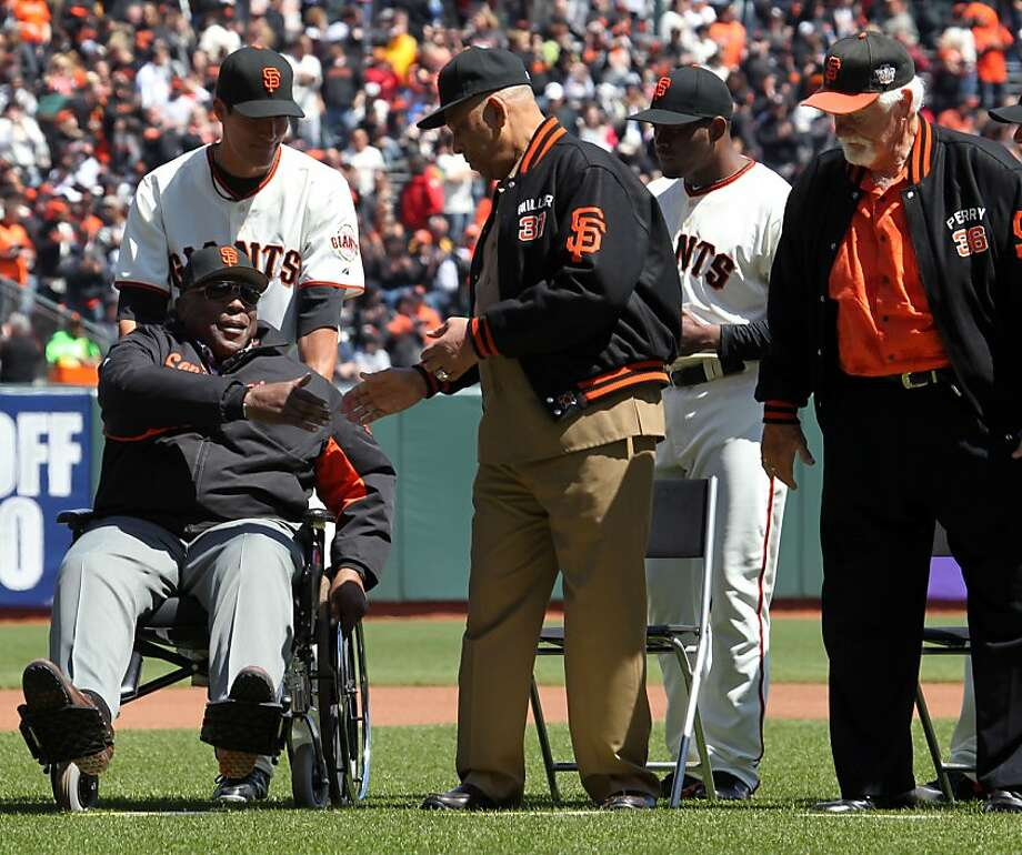 Willie Mc Covey, Orlando Cepeda, and Gaylord Perry, right, all members of the 1962 San Francisco Giants talk to one another during a pregame ceremony before the game against the Pittsburgh Pirates at AT&T Park on April 13, 2012 in San Francisco, California. Giants won 5-0 Photo: Lance Iversen, The Chronicle