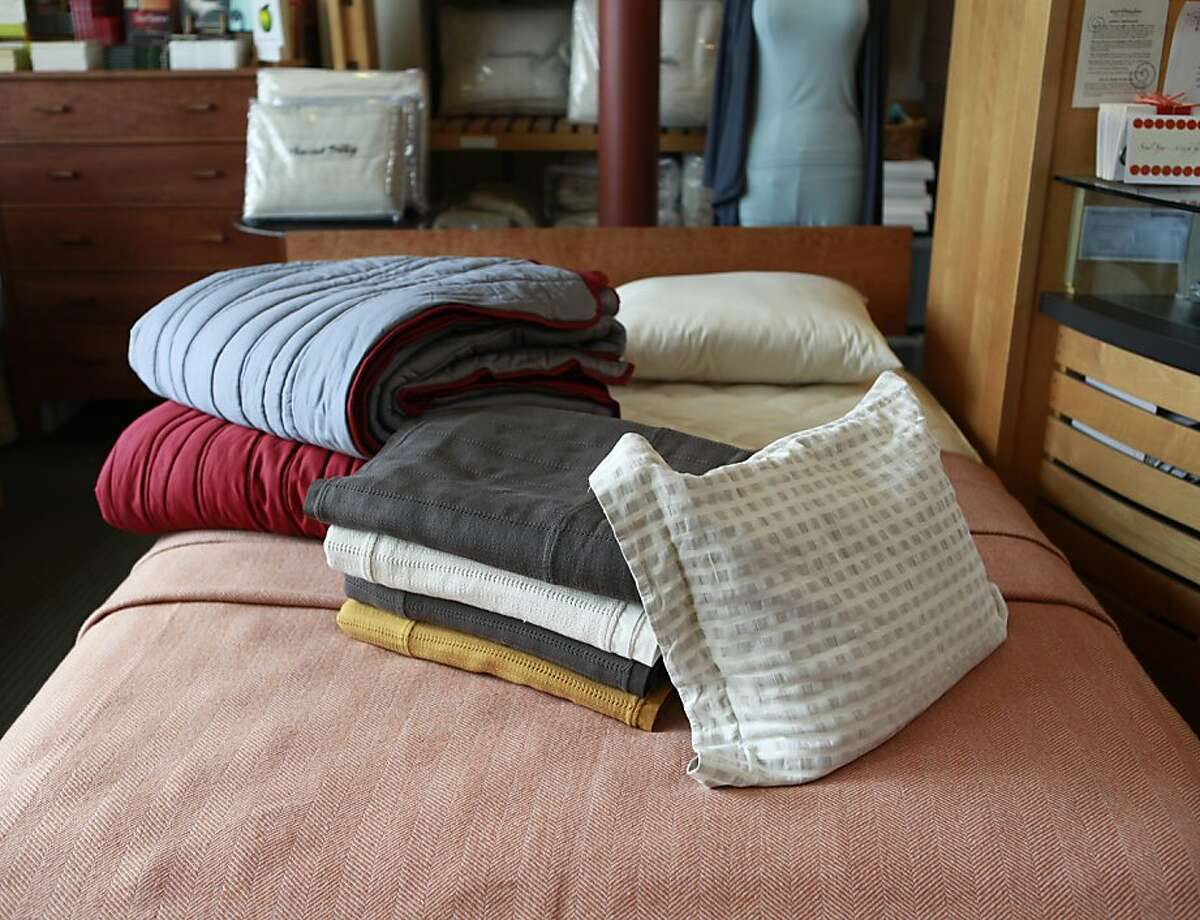 Examples of Coyuchi linens being sold at Earthsake store, in Berkeley, California on Wednesday, April 11, 2012.