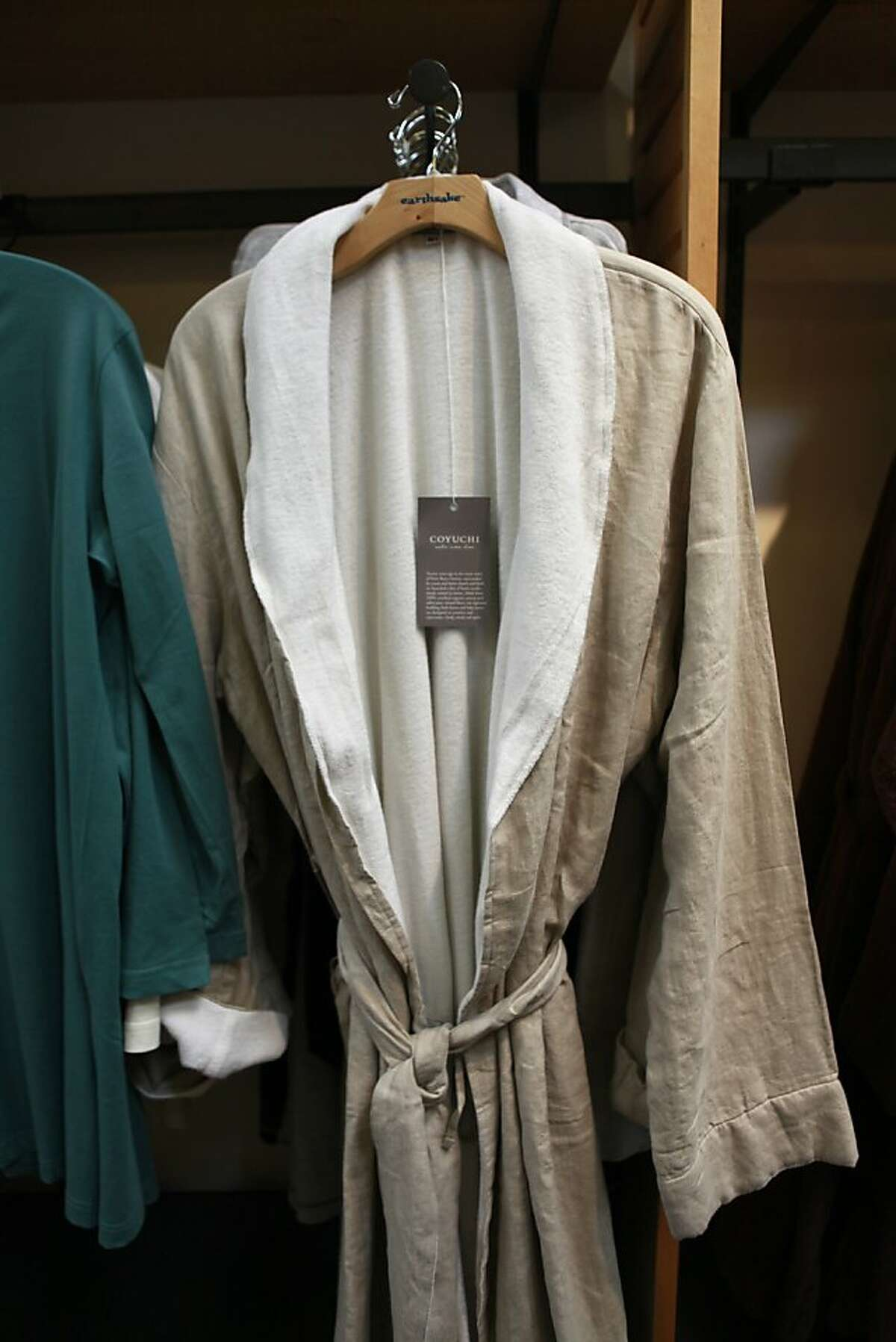 Coyuchi linen terry robe sold at Earthsake store, in Berkeley, California on Wednesday, April 11, 2012.