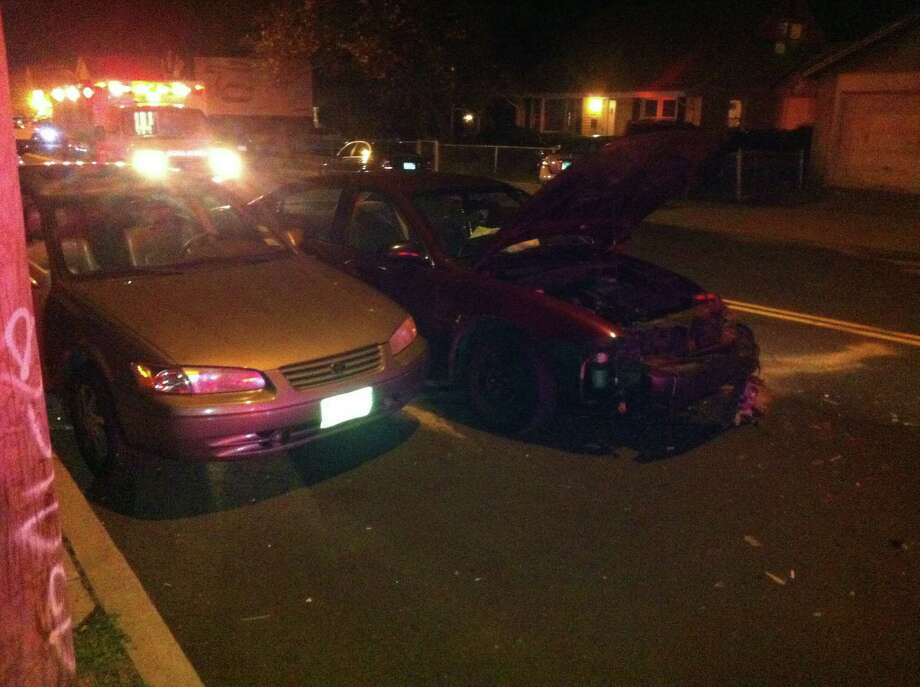 Three cars were involved in an accident on Madison Avenue in Bridgeport on Friday, April 13, 2012. Photo: Tom Cleary