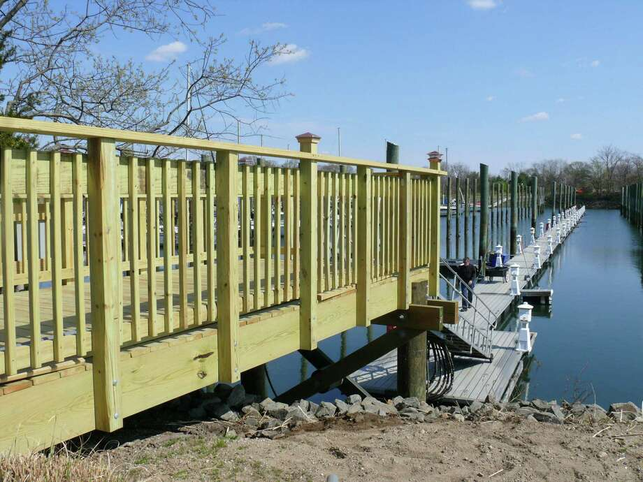Town crews reconstructed landings for the boat ramps at the South Benson Marina, which opens for the season on Saturday. Photo: Genevieve Reilly / Fairfield Citizen