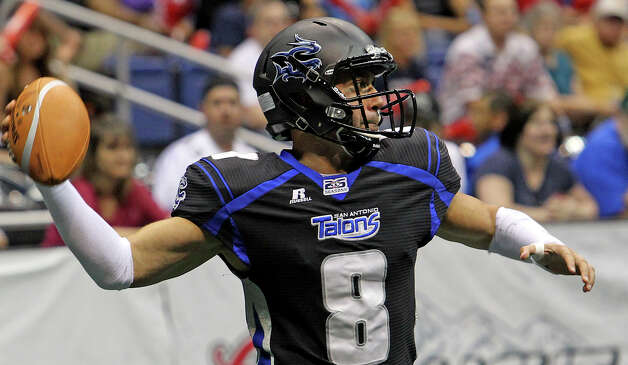 Talons quarterback Aaron Garcia throws as the San Antonio Talons host the New Orleans Voodoo at the Alamodome on  April 13, 2012. Photo: Tom Reel, San Antonio Express-News / San Antonio Express-News
