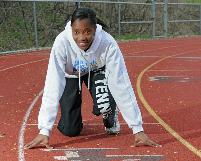 Emma Willard track star Keishorea Armstrong at practice April 10, 2012 in Troy, N.Y. (Lori Van Buren