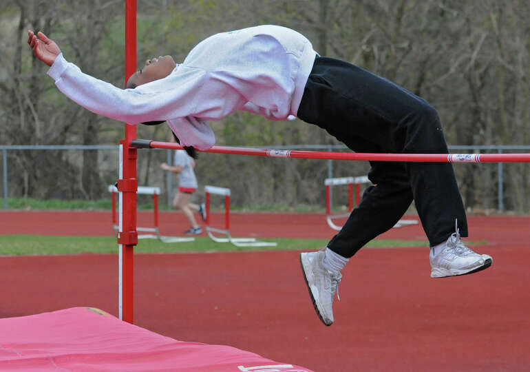 Emma Willard track star Keishorea Armstrong practices the high jump at practice April 10, 2012 in Tr