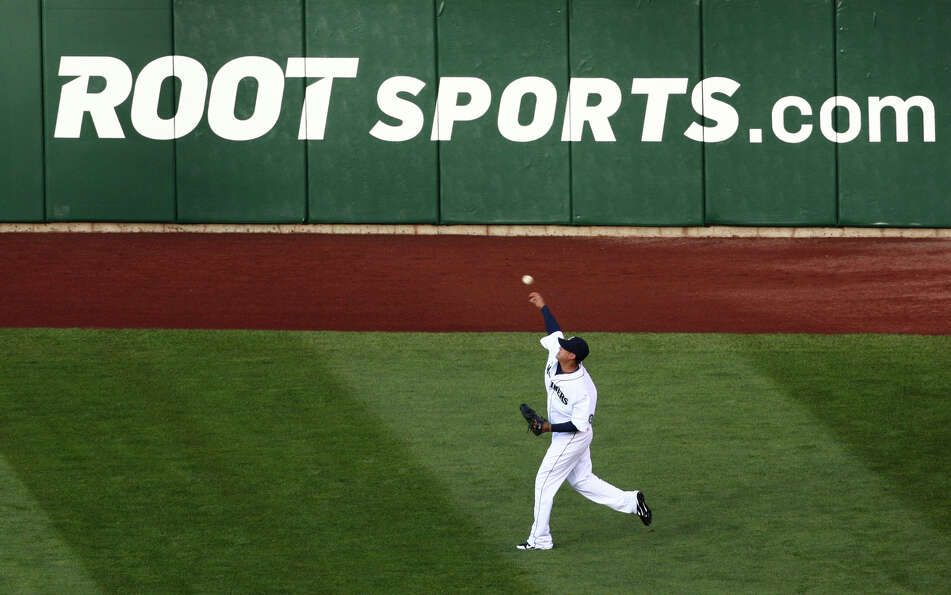 Felix Hernandez warms up during the Seattle Mariners home opener.