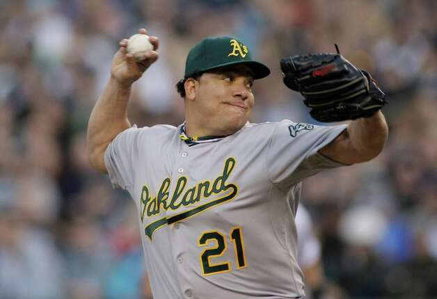 Oakland Athletics starting pitcher Bartolo Colon throws in the first inning. Photo: AP