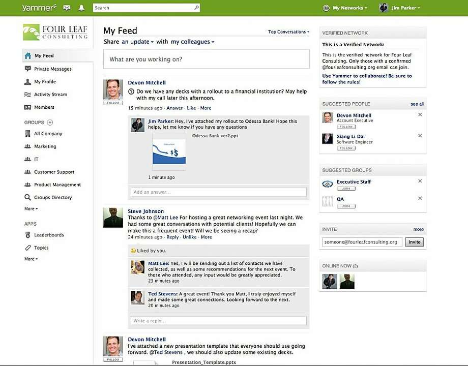 An undated screenshot of enterprise social networking site Yammer. Photo: Yammer