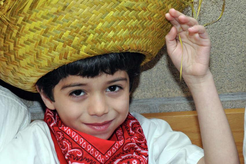 Leonardo Velez, 6, kindergarten, during the annual Waterside School International Festival in Stamford on Saturday, Apr. 14, 2012.