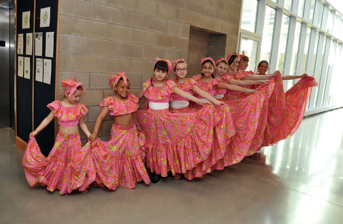 Dancers representing Ecuador line up backstage during the annual Waterside School International Festival in Stamford on Saturday, Apr. 14, 2012.