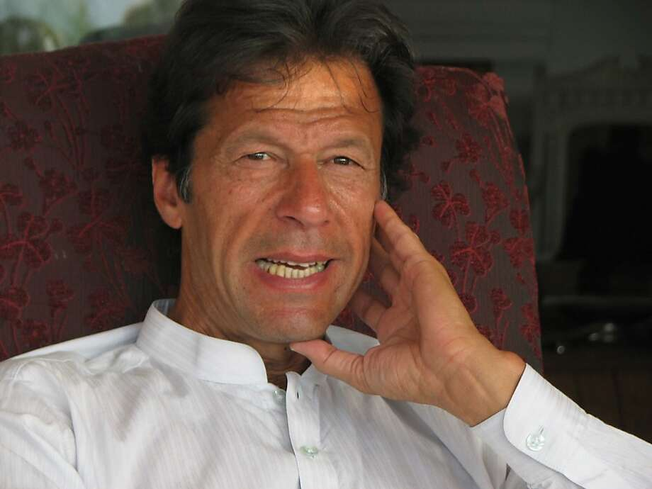 "Imran Khan is running to lead Pakistan on a theme of ""hope"" and ""change."" The dashing former cricket star is attracting young people with his call for a new Pakistan. He vows to end corruption in 90 days, calm the militants and refuse U.S. aid. His supreme self-confidence and fiber-free platitudes (and even his mannerisms) reminded me (a lot) of Arnold Schwarzenegger -- and I told him that while we were leaving. He had a puzzled look, not knowing whether it was a compliment or criticism. ""Hey, he won -- twice,"" I said. He then laughed.   in Islamabad, Pakistan. Photo: John Diaz, The Chronicle"