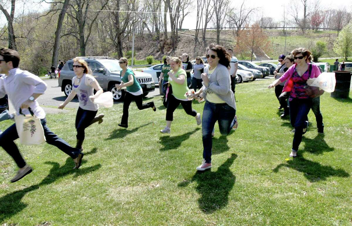 Were you seen at the grown-up egg hunt on Saturday, April 14, 2012 in Troy's Prospect Park??