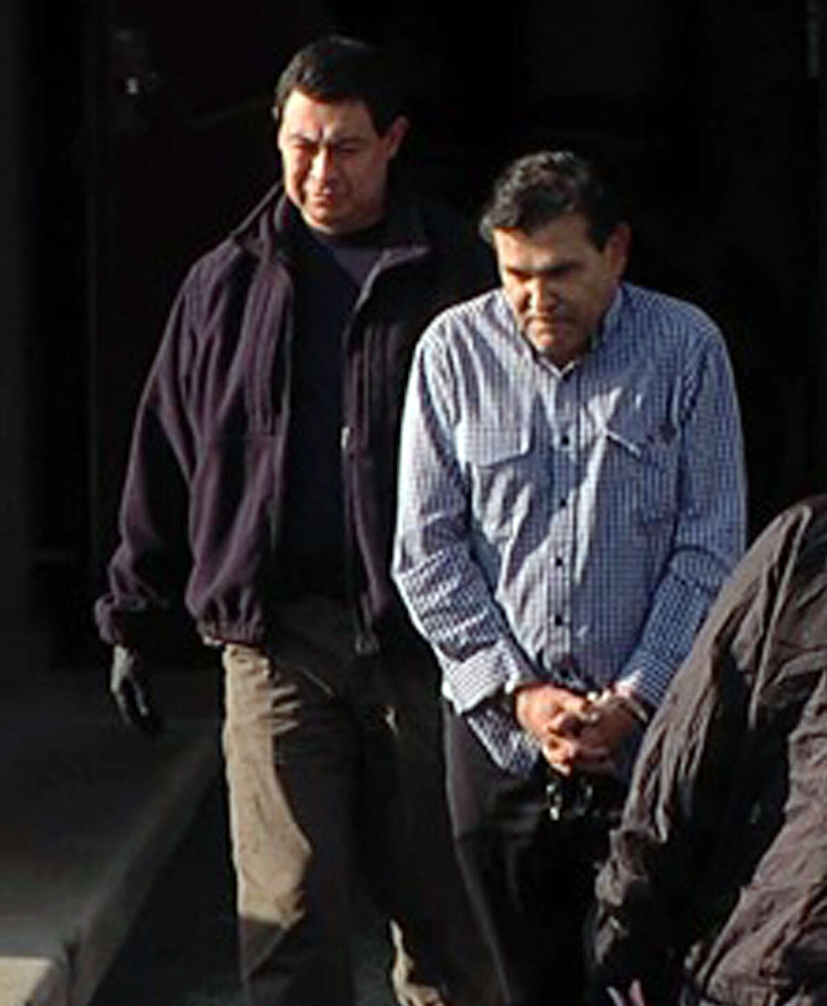 Antonio Pena Arguelles (right) charged with money laundering linked to Gulf and Los Zetas drug cartels in Mexico. Courtesy WOAI.COM