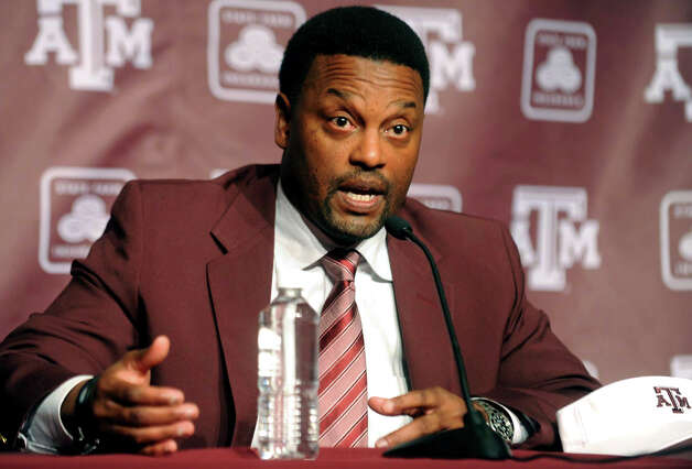 Newly-appointed Texas A&M head coach Kevin Sumlin speaks during a news conference officially introducing him as the NCAA college football team's new coach on Monday, Dec. 12, 2011, in College Station, Texas. Sumlin was hired to replace Mike Sherman who was fired two days earlier after a disappointing 6-6 season. Photo: AP