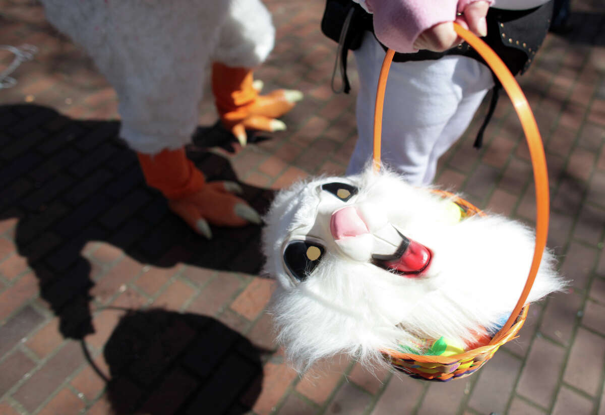 A bunny mask is carried in a basket during Bunnarchy.