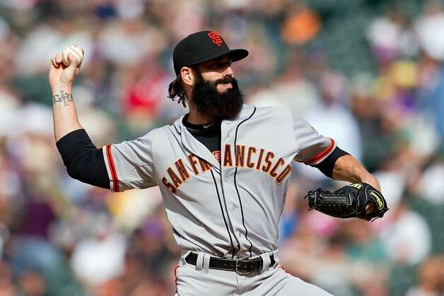 DENVER, CO - APRIL 12: Relief pitcher Brian Wilson #38 of the San Francisco Giants works the ninth inning against the Colorado Rockies at Coors Field on April 12, 2012 in Denver, Colorado. The Giants defeated the Rockies 4-2. (Photo by Justin Edmonds/Getty Images) Photo: Justin Edmonds, Getty Images