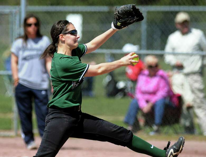 Shenendehowa's Taylor Fitzgerald winds up the pitch during their softball game against Newburgh Free
