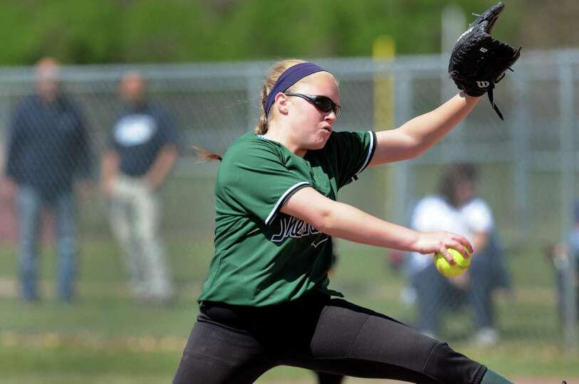 Shenendehowa's Erika Daigle winds up the pitch during their softball game against Newburgh Free Acad