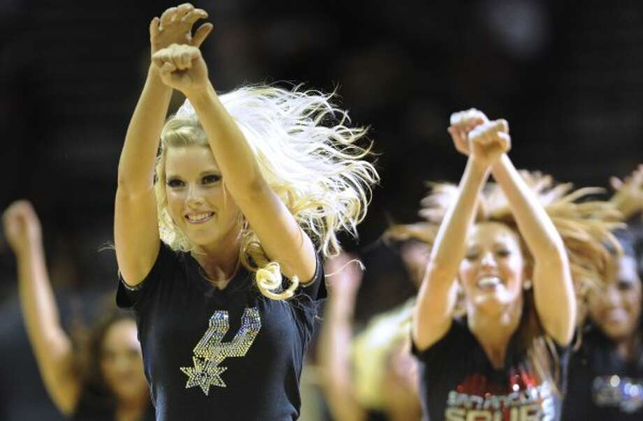 The Spurs Silver Dancers perform during a timeout at the AT&T Center on Saturday, April 14, 2012. Billy Calzada / San Antonio Express-News (San Antonio Express-News)
