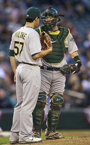 EATTLE, WA - APRIL 14: Kurt Suzuki #8 of the Oakland Athletics talks with Tommy Milone #57 after loading up the bases during a game at Safeco Field on April 14, 2012 in Seattle, Washington. (Photo by Stephen Brashear/Getty Images) Photo: Stephen Brashear, Getty Images
