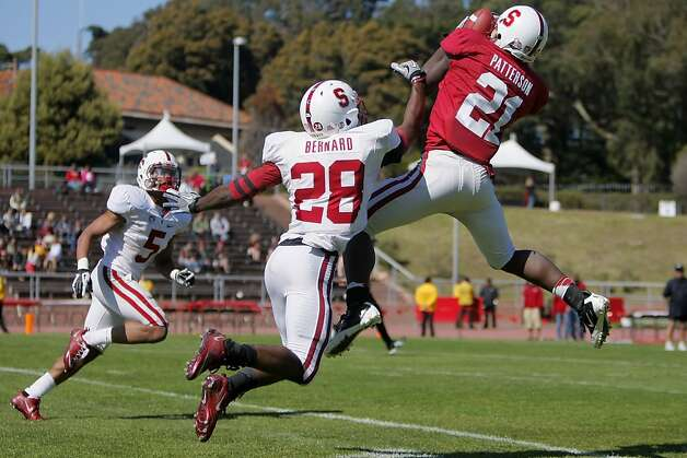 Cardinal's wide receiver Jamal-Rashad Patterson (21), leaps for a catch during an intrasquad spring game at Kezar Stadium in San Francisco, Calif., on April 14, 2012. Stanford's defense (white uniform), won the game 37-29. Photo: Erik Verduzco, The Chronicle