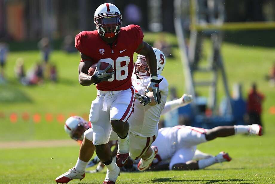 Stanford receiver Ty Montgomery runs after a catch during a spring intrasquad game at San Francisco's Kezar Stadium. Photo: Erik Verduzco, The Chronicle