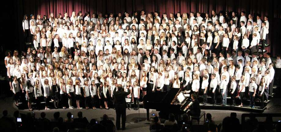 More than 300 fourth and fifth graders filled the stage at Staples High School on Tuesday evening, Aptil 10, during the Westport schools' Townwide Choral Festival. Middle school and high school vocalists performed, too. Photo: Contributed Photo / Westport News