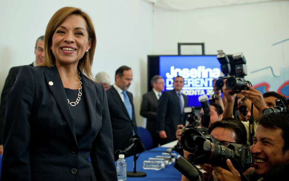 Mexican presidential candidate of the National Action Party, Josefina Vazquez Mota, poses for a picture before a press conference in Mexico City, on April 9, 2012. Mexico will hold presidential elections next July 1, 2012. AFP PHOTO/RONALDO SCHEMIDT Photo: RONALDO SCHEMIDT, Getty Images / 2012 AFP
