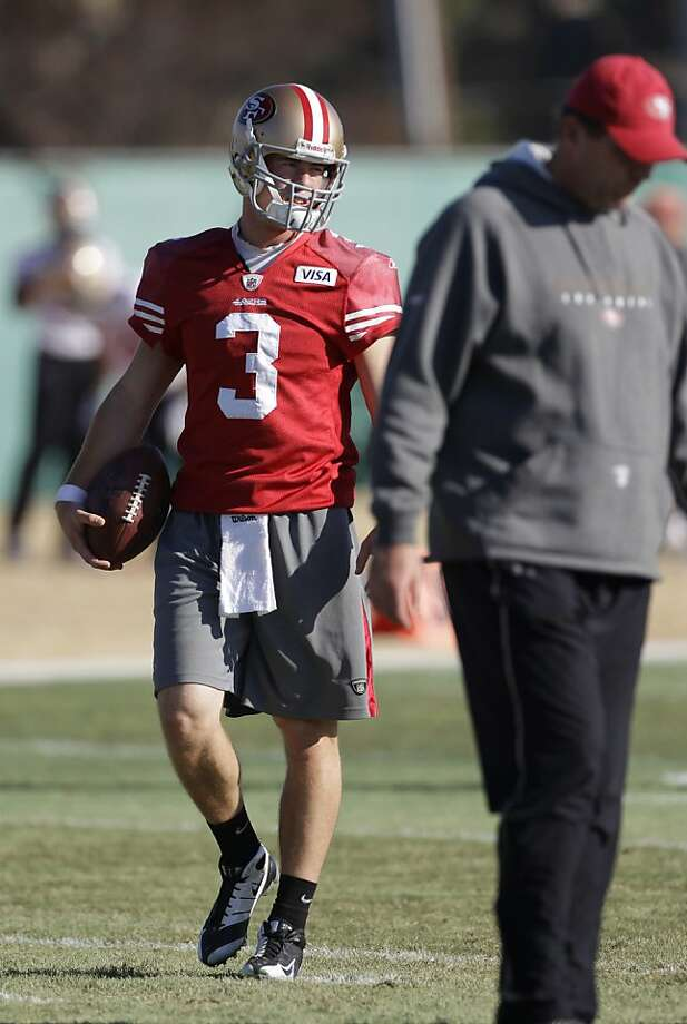 San Francisco 49ers quarterback Scott Tolzien (3) watches NFL football practice in Santa Calf., Wednesday, Jan. 11, 2012. Tolzien is having a ball playing Drew Brees in practice this week. Not a bad gig for the little-known practice-squad quarterback, who wasn't even drafted after a stellar career at Wisconsin. He realizes full well that his role is mighty important in San Francisco's preparation for its NFC divisional playoff game against the high-powered Saints on Saturday at Candlestick Park. (AP Photo/Paul Sakuma) Photo: Paul Sakuma, Associated Press