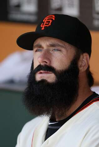 SAN FRANCISCO, CA - APRIL 13:  Brian Wilson #38 of the San Francisco Giants sits in the dugout before the Giants game against the Pittsburgh Pirates at AT&T Park on April 13, 2012 in San Francisco, California.  (Photo by Ezra Shaw/Getty Images) Photo: Ezra Shaw, Getty Images
