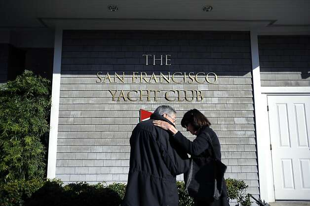 An unnamed couple comfort each other after leaving the vigil.   A vigil was held at the San Francisco Yacht Club in Belvedere, CA Sunday April 15th 2012 Photo: Michael Short, Special To The Chronicle