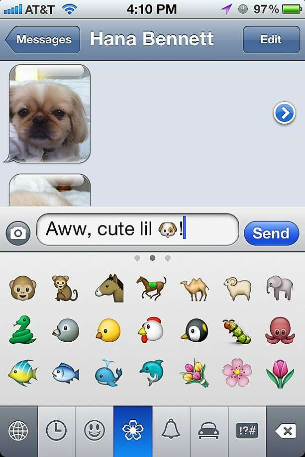 In a nutshell: Emoji is an app that adds cool, tiny emoticons and pictures to your iPhone s virtual keyboard ( E  +  moji  is Japanese for  picture  and  letter ). Once you download the app, follow the short instructions for installing it. Now you can add happy faces and pics of monkeys to your text messages, e-mail, and notes. Photo: IToyToy