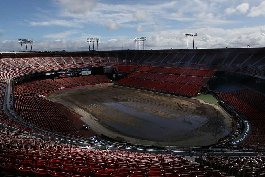Candlestick Park stadium in San Francisco, Calif., seen after the rains on Friday, April 13, 2012. Photo: Liz Hafalia, The Chronicle