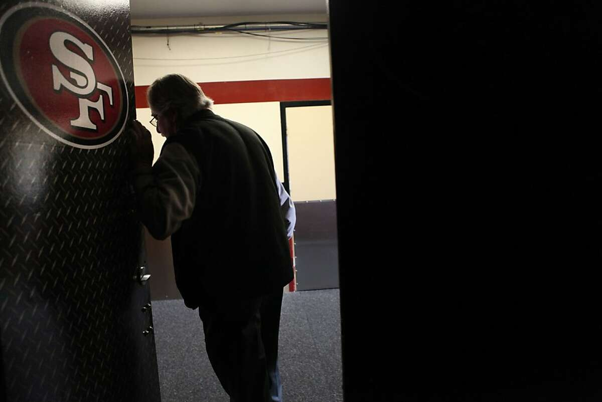 Stadium manager Michael G. Gay leaving the 49er locker room at Candlestick Park stadium in San Francisco, Calif., on Friday, April 13, 2012. Gay has been the stadium manager for over 30 years.