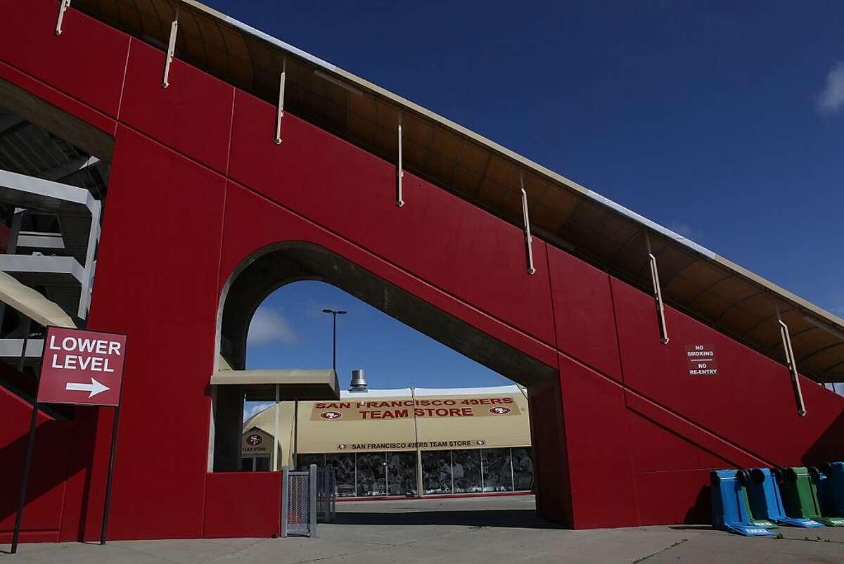 The 49er souvenir shop seen through the escalator at Candlestick Park stadium in San Francisco, Calif., on Friday, April 13, 2012.