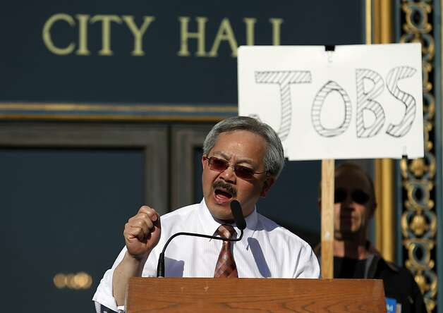Mayor Ed Lee speaks in support of labor and healthcare union members at a rally on the steps of City Hall in support of rebuilding two hospitals on Thursday, April 5, 2012 in San Francisco, Calif. Photo: Beck Diefenbach, Special To The Chronicle